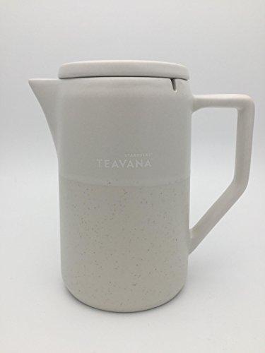 Starbucks Teavana Kaffee oder Tee Pot Karaffe Dunkelweiß matt mit Zimt gesprenkeltem Design sicher verschlossenem Deckel KaraffeMikrowellen und Spülmaschinenfest