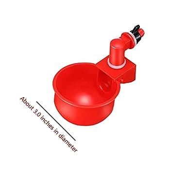 Qingday Bol À Boire Au Poulet Tasse D'arrosage Au Poulet Abreuvoir À Poule Automatique Tasses d'eau Potable Rouge Abreuvoir Poules Bien Pratique en Plastique pour Oiseaux Poule Volaille