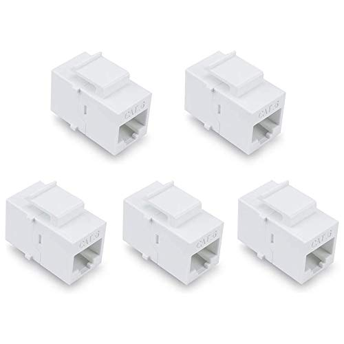 Fransande - Adaptador Ethernet Cat6, cable de red Utp Rj45 hembra a hembra, 5 paquetes, color blanco