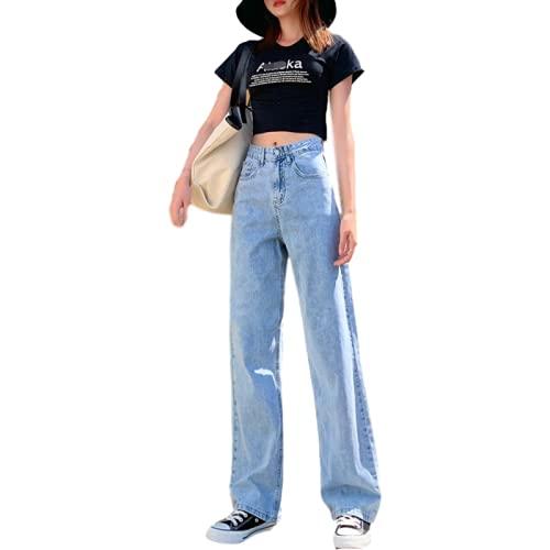 pantaloni tuta happiness donna Jeans da Donna Moda Vita Alta Largo Semplice Casual Tutto-fiammifero Lavoro d'ufficio di Base Pantaloni di Jeans Dritti per Il pendolarismo XXL