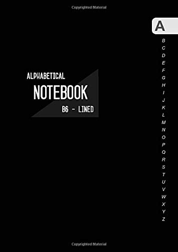 Alphabetical Notebook B6: Small Lined-Journal Organizer with A-Z Tabs Printed   Smart Black Design