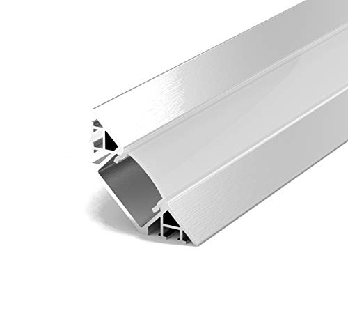 Set: LED Profil, 100cm Profil LED 45° für LED Streifen, Aluminium led Profil + Abdeckung (Milchig) LT7