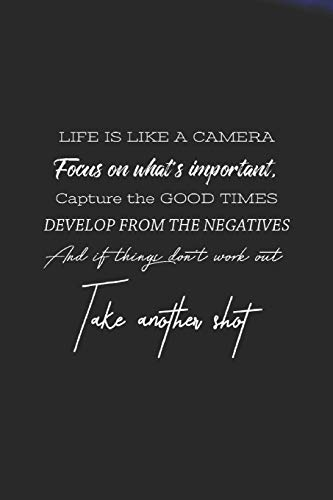 Life Is Like A Camera Facous On What S Inportant. Capture The Good Times Develip From The Negative And If Things Don't Work Out Take Another Shot: ... Year Ever, 365 days to more Happiness Moti