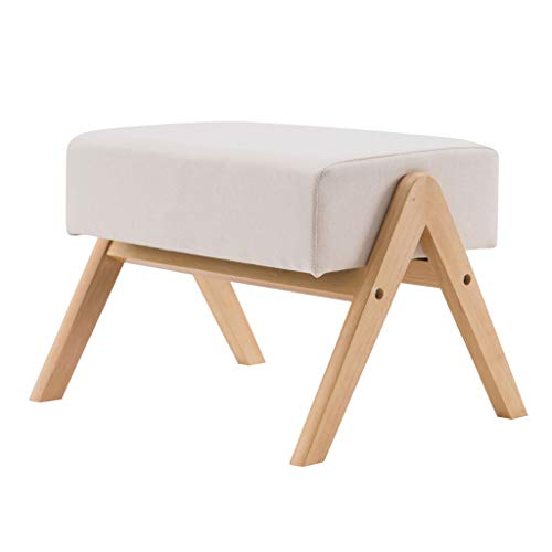 Foot Rest Stool Small Fabric Square Footstool, Stool Sofa Tea Stool Change Shoes Bench, with Padded Seat Wood Legs, Modern Home Living Room Bedroom Rectangular Stool (21.26 X 17.72 X 14.76)