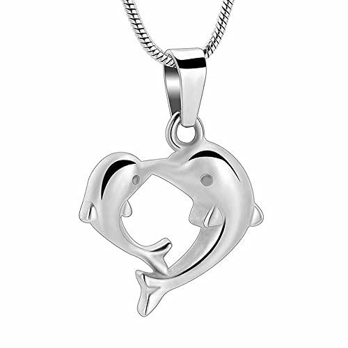 BHSICSACLJ Collar de joyería Pérdida de joyería de cremación de Mascotas Doble delfín Memorial Urna Colgante Cenizas Titular Collar de Recuerdo Acero Inoxidable