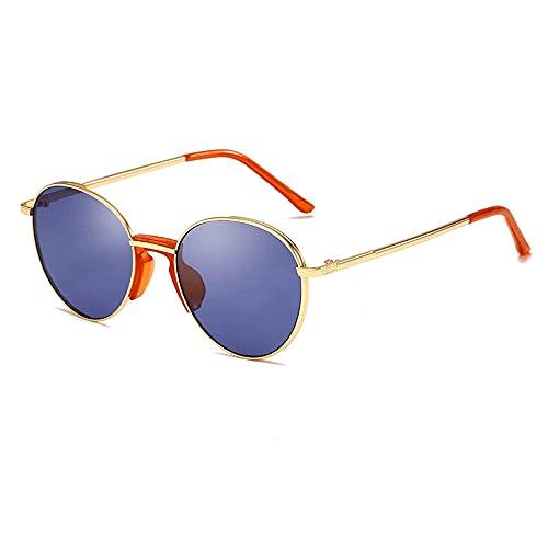 Gafas De Sol para Hombre Y Mujer Moda Redondo Gafas ProteccióN para ConduccióN Gafas De Deportes Al Aire Libre De Pesca De Moda Regalo de San Valentín (Color : Golden Blue)
