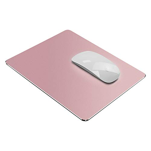 Vaydeer Tappetino per Mouse Rigido Design Mac Liscio Ultra Sottile su Entrambi i Lati, Impermeabile in Alluminio Metallico Controllo Rapido e Preciso per il Gioco, Ufficio (Piccolo, Rose Gold)