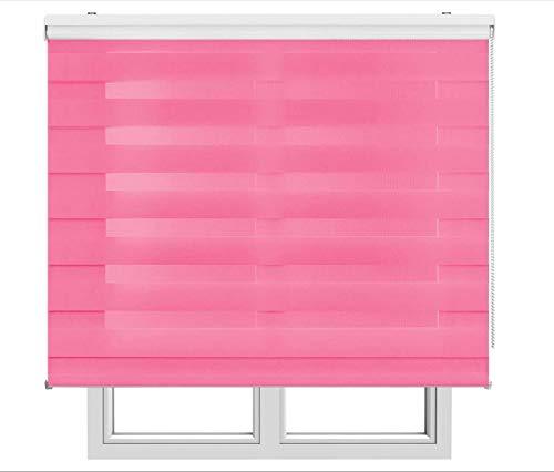 Restar Estor Enrollable De Doble Capa, Noche y Día, Celeste para Ventanas Puertas Dormitorios Oficinas,Tamaño Completo y Color, (Rosa, 160x180)