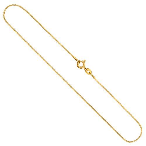 Edelweiss Venezianerkette, Goldkette Damen/Herren 333er Echtgold (14k) Goldhalskette, in Länge 50 cm, Breite 0,8 mm, Unisex Goldschmuck