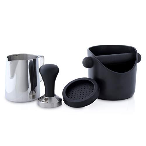 Ucami Kaffee Tamper Set | Professionelles Barista Zubehör mit Premium-Design | Enthält 51mm Kaffee-Tamper mit Silikonmatte, Abklopfbehälter und 350ml Milchkanne
