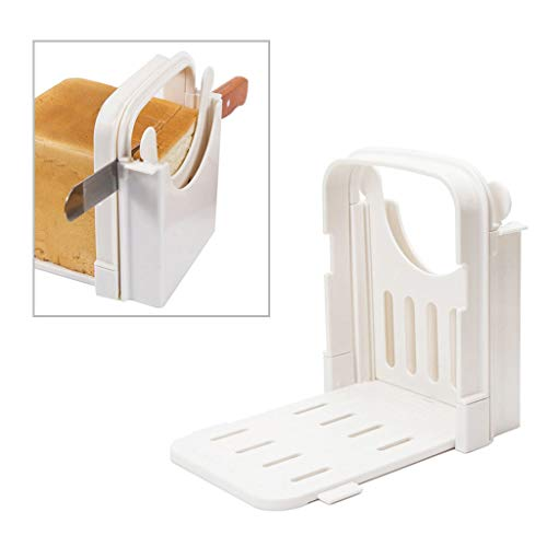DSDecor Bread Slicer Foldable Bread Cutting Guide with 5 Slice Thicknesses Mold, Bread Bagel Loaf Sandwich Cutter Slicer