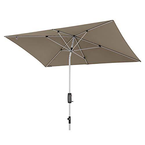 Knirps Sonnenschirm Automatic - Rechteckiger Kurbelschirm - Modernes Design - Starker UV-Schutz - 260x165 cm - Taupe