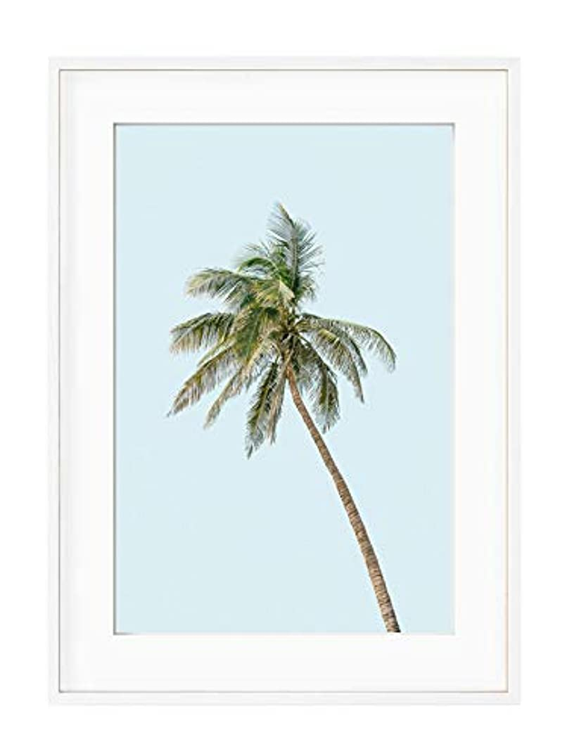Coconut Tree White Lacquer Wooden Frame with Mount, Multicolored, 50x70
