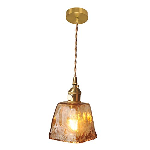MERIGLARE Lámpara Colgante de Techo de Vidrio de Latón de Estilo Antiguo, Iluminación de Cable Textil