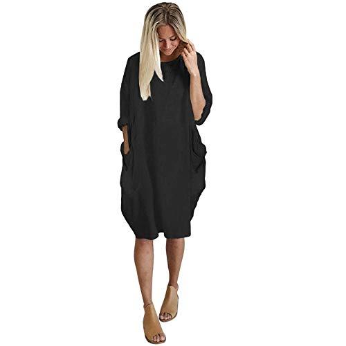Plus Size Loose Long Dress Women Pocket Ladies Crew Neck Casual Tops Dress