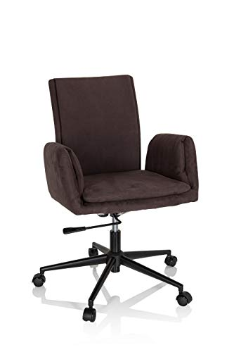 hjh OFFICE 660949 Drehstuhl mit Rollen Flow PRO Samt Dunkelbraun Schreibtischstuhl Sessel modern, bequem gepolstert, Wippfunktion