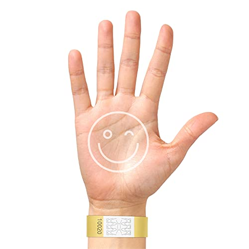 BKSAI 200 pulseras de entrada de Tyvek®, banda de control en DIN A4 imprimible, plantilla de impresión disponible para escribir y eventos, para diseñar e imprimir (dorado)
