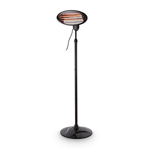 Blumfeldt Hot Roddy - Free-standing radiant heater , Infrared heater , IPX4 , Patio heater , 3 quartz heating tubes , 3 settings: 650, 1300 or 2000 W , Range: up to 15 m² , Telescopic base , black