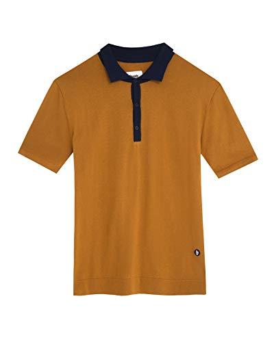 Brava Fabrics - Polo para Hombre - Camiseta Polo - 100% Algodón Orgánico - Modelo Navy Ochre
