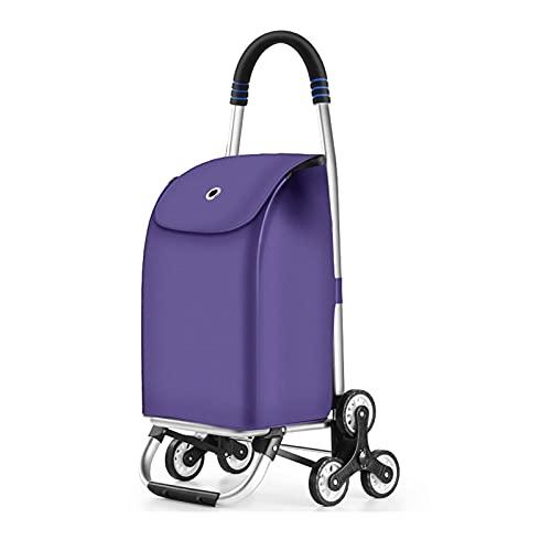 Carro de compras portátil Carrito de la compra plegable con bolsa de tela de oxford impermeable removible escalera de la escalera de la escalera del carro para la ropa para la lavandería las compras C