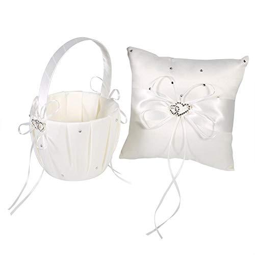 Raguso Almohada del Anillo de Bodas de la Cesta de la Boda para la Ceremonia(Off-White (Flower Basket + Ring Pillow))
