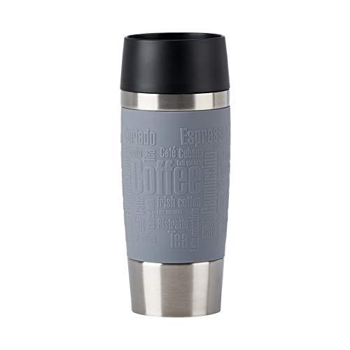 Emsa N20127 Travel Mug Classic - Termo de acero inoxidable, 0,36 litros, 4 horas calientes, 8 horas frías, 100 % hermético, antigoteo, apto para lavavajillas, apertura para beber de 360°, color gris