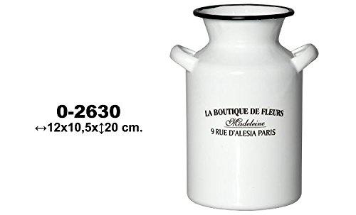 DRW - Lattiera in Metallo smaltato con Manici Decorati, 10,5 x 12 x 20 cm