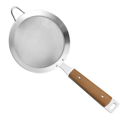 Hemoton Stainless Steel Skimmer Spoon Fine Mesh Colander Wire Skimmer Spoon with Handle for Kitchen Food Pasta L