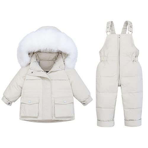 Piumino invernale per bambini e bambine, con cappuccio e piumino, paraks, tuta da neve, protezione dal freddo, antivento, giacca invernale, beige., 5 anni