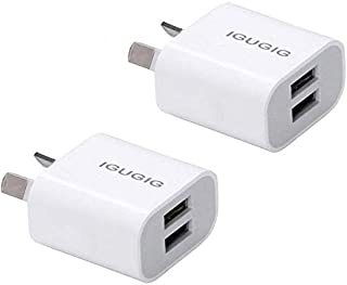 USB Wall Charger with AUS Plug, IGUGIG High Speed 5V/2.1A Dual Port USB Charger Plug Power Adapter for iPhoneXs/Xs Max/X /...