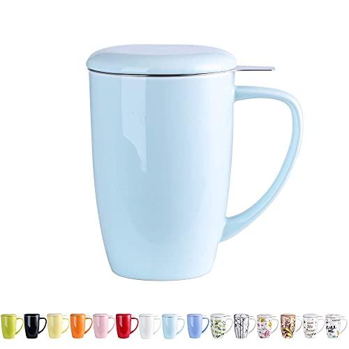 Mosako - Taza de té con infusor de porcelana con filtro de acero inoxidable, 450 ml, taza con tapa para café y bebidas (azul claro)