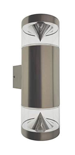 Trango IP44 Up & Down Light wandlamp van roestvrij staal TG8003 met 2x GU10 fitting geschikt voor alle LED-lampen