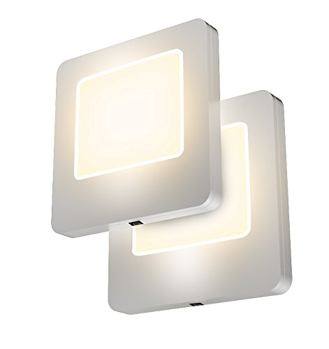 LED Concepts Pack of 2 Plug-in LED Night Lights – Ultra Slim, Cool-Touch Design – Great for Bedroom, Bathroom, Hallway, Stairways, or Any Dark Room (Warm White)