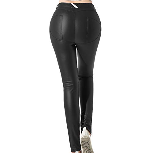 MAGIMODAC Damen Lederhose Stretch Skinny Leggings Kunstleder Hose Leggins 34 36 38 40 42 44 46 48 50 (Asian 6XL/DE 50)