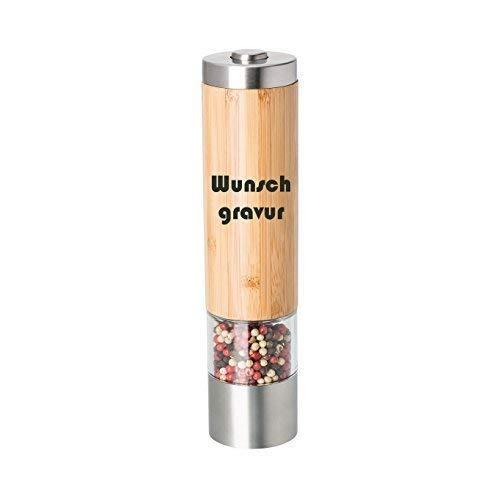 Elektrische Pfeffermühle oder Salzmühle inkl. Gravur graviert, elektrisch, Bambus/Edelstahl, Keramikmahlwerk, eingebaute LED, inkl. Batterien