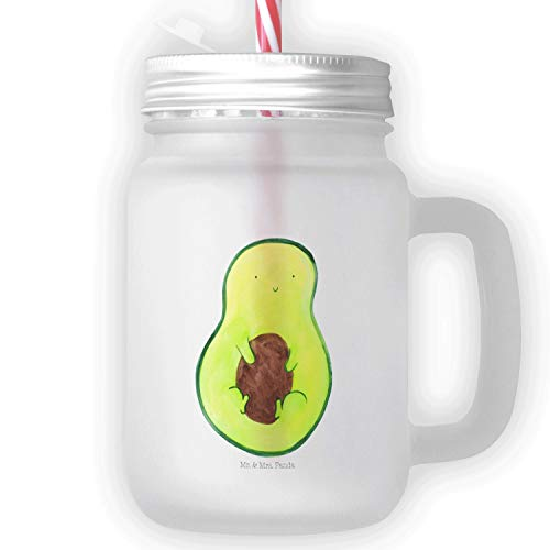 Mr. & Mrs. Panda Sommerglas, Einmachglas, Mason Jar Trinkglas Avocado mit Kern - Farbe Transparent