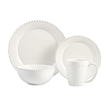 American Atelier 16 Piece Bianca Bead Round Dinnerware Set, White