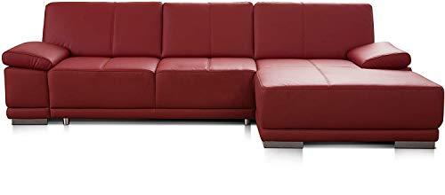 CAVADORE Schlafsofa Corianne in echtem Leder / Eckcouch mit Bettfunktion und beidseitiger Armteilverstellung / 282 x 80 x 162 / Echtleder, rot