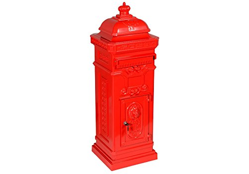 antiker englischer Standbriefkasten Luna, Farbe Rot, Material Aluminium, rostfrei, Höhe: 102cm, Standbriefkasten Briefkasten Postkasten Antik Retro Jugendstil freistehend Standpostkasten