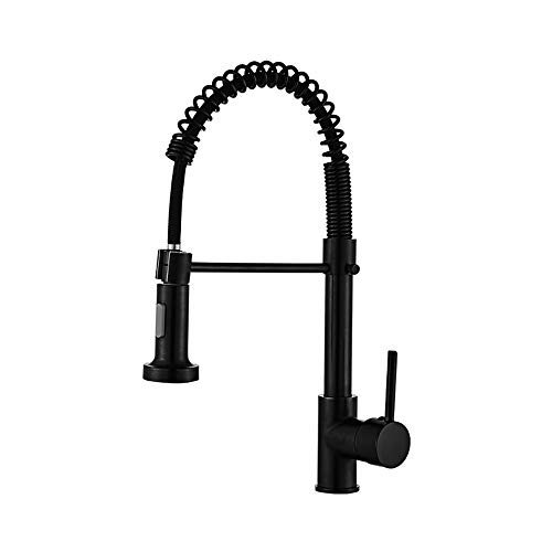 DLGGO Black Pull-out Kitchen Faucet Hot And Cold Single Handle Basin Tap 3-Function Pull Down Sprayer Kitchen Sink Tap High Arc Pull Out Tap Retractable Spring Faucet Sinks Deck Mounted