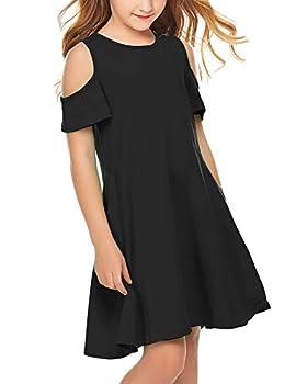 Arshiner Girls Summer Dress Short Sleeve Cold Shoulder Solid Color Swing Casual Dresses with Pockets Black