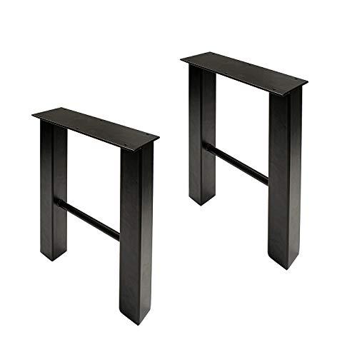 7Penn Industrial Metal Outdoor Table Legs 2 Piece Set in Black - 28 Inch Steel Legs for Furniture Dinner or Coffee Table