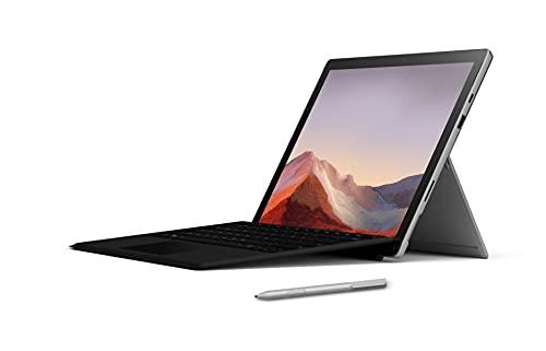 Microsoft Surface Pro 7 Exclusive Pack Laptop (Windows 10, touchscreen da 12,3 , Intel Core i5, 8 GB di RAM, SSD da 128 GB) + Tastiera francese AZERTY Cover con tasti Nero + Surface Platinum Stylus