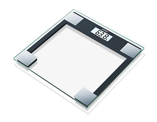 Korona Gabriela Báscula de baño de cristal, escala hasta 150 kg, intervalos en gramos 100, transparente y negro