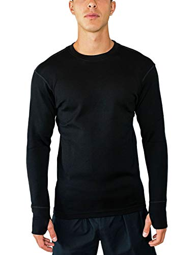 Woolx Mens Glacier Heavyweight Merino Wool Base Layer Shirt For Extreme Warmth, Black, Large