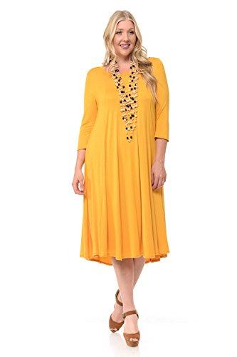 Pastel by Vivienne Women's A-Line Trapeze Midi Dress Plus Size X-Large Mustard