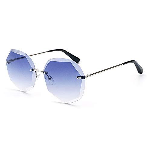 Bradoner Gafas de sol Europa y Estados Unidos con corte de cristal para mujer, protección UV400, marco plateado, lente degradado (color: azul)