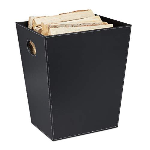 Relaxdays Holzkorb für Kaminholz, Kaminholzkorb aus Kunstleder, zum Tragen & Aufbewahren, Kaminkorb mit Griffen, schwarz
