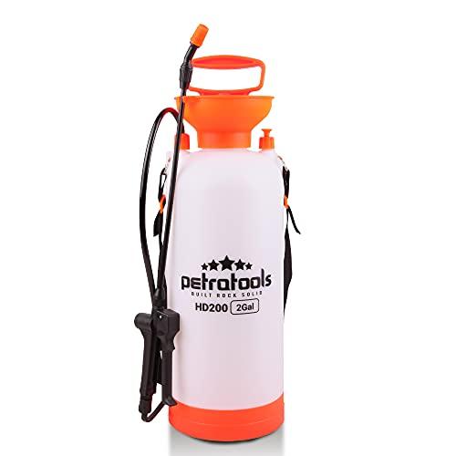 PetraTools 2 Gallon Pump Sprayer, Lawn and Garden Sprayer, Weed Sprayer and Yard Sprayer, Chemical Sprayer and Plant Sprayer, Hand Pump Sprayer, 2 Gallon Sprayer, Sprayers in Lawn and Garden - HD200