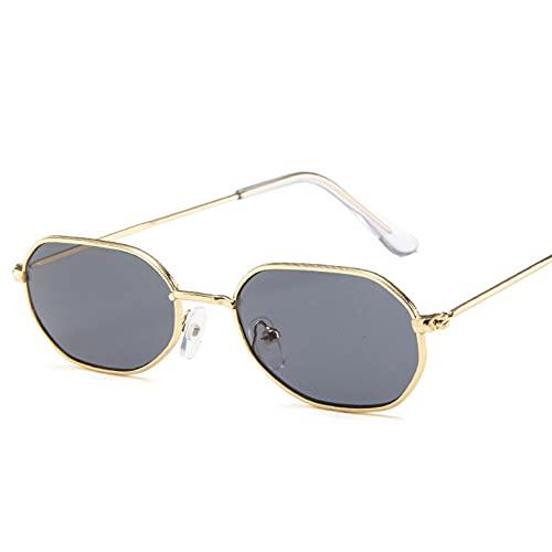 YTYASO Gafas de Sol pequeñas ovaladas para Mujer, Gafas de Sol de Color Negro Rojo metálico para Mujer, Moda UV400